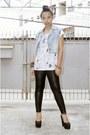 Black-leather-leggings-sky-blue-diy-vest-white-nava-top-black-wedges