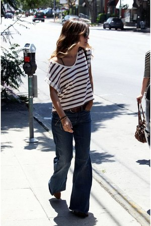 stripes blouse - wide jeans pants