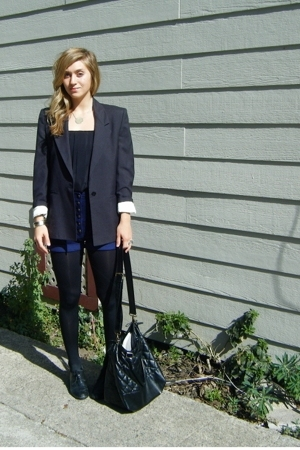 blazer - blouse - Era of Chaos shorts - tights - shoes