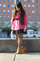 pink H&M blouse - black Forever 21 dress - black H&M vest - brown Deena & Ozzy f