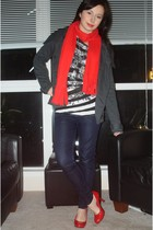 red Old Navy scarf - red le chateau shoes - navy Guess jeans - black strawberry 