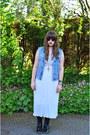 Black-asos-boots-ivory-topshop-dress-sky-blue-vintage-jacket