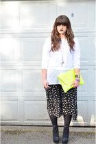 yellow neon clutch asoscom bag - black floral culottes Urban Outfitters shorts
