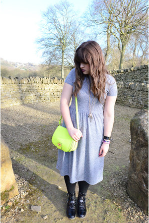 yellow Aldo bag - black asos boots - heather gray midi Topshop dress
