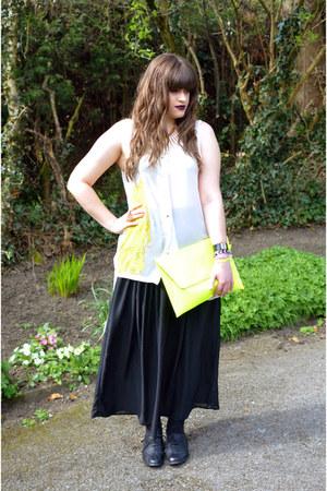 yellow neon asoscom bag - off white H&M blouse - black Topshop skirt