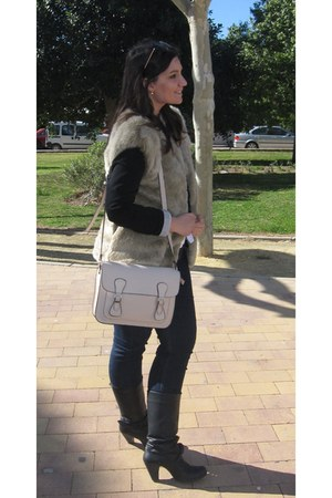 brown Sfera vest - black Stradivarius blazer - cream xti bag