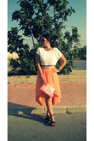carrot orange Lefties skirt - hot pink Stradivarius bag