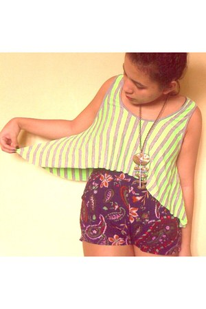 deep purple shorts - chartreuse top