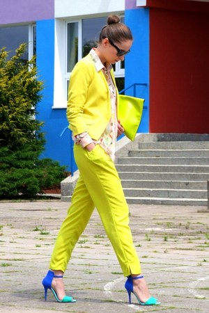 blue Zara sandals - yellow H&amp;M blazer - nude H&amp;M shirt - lime green allegro bag