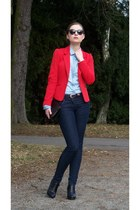 red H&M jacket - blue F&F jeans - light blue Stradivarius shirt
