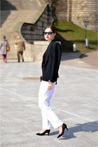 white second hand pants - black F&amp;F jacket - black H&amp;M bag