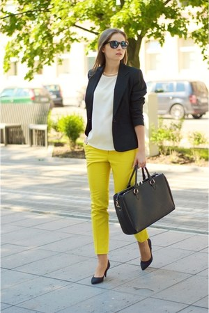 black F&amp;F jacket - black Zara bag - black H&amp;M heels - yellow H&amp;M pants