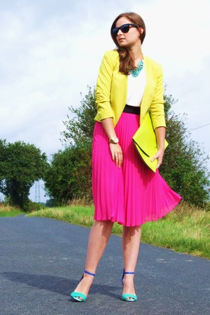 yellow H&amp;M blazer - lime green allegro bag - hot pink H&amp;M skirt