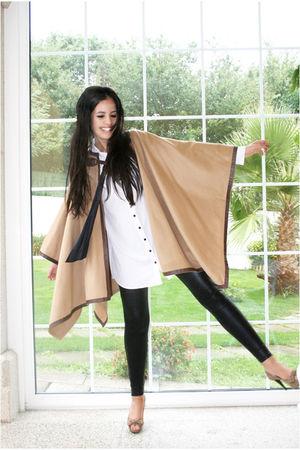 beige Zara coat - black Bershka leggings - beige Zendra shoes - white H&M blouse