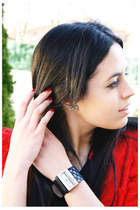 red H&M jacket - black Moschino watch - black Claires earrings