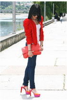 navy BLANCO jeans - red H&M jacket - carrot orange Zara bag - hot pink Zara sand