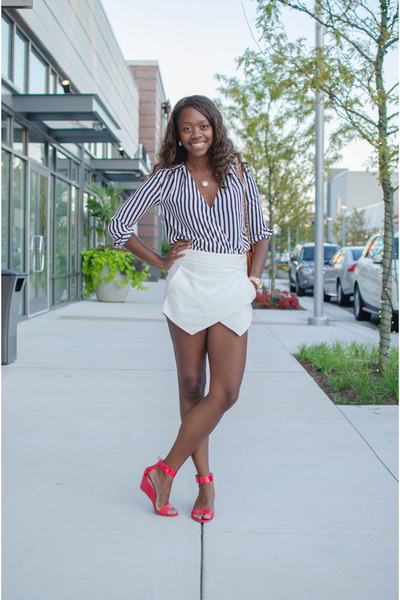 white Zara skirt - navy striped H&M top - coral Target wedges