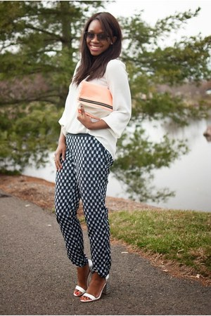 navy printed H&M pants - peach clutch H&M bag - white metallic shoemint heels