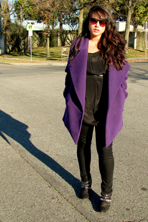 purple jacket - black Urban Outfitters blouse - black Mavi Serena leggings - bla