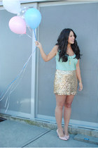 gold Joe Fresh skirt - light blue Aritzia top - peach vintage heels