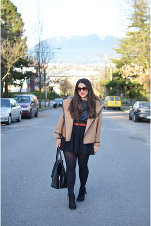 camel Obakki coat - black joust Dolce Vita boots - black H&M skirt