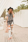 Heather-gray-cotton-zara-dress-white-ripped-bershka-jeans