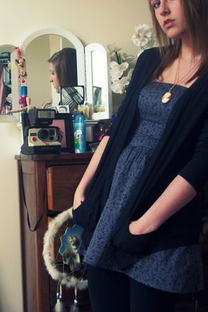 blue Heritage dress - black Target cardigan - black Target leggings - pink yard