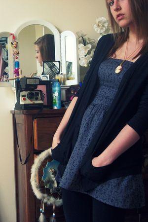 blue Heritage dress - black Target cardigan - black Target leggings - pink yard
