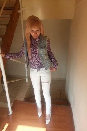 white pull&bear shoes - white Bershka jeans - turquoise blue H&M vest