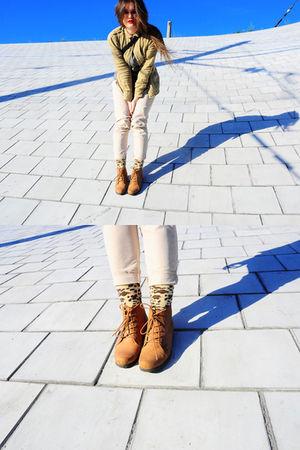 green Topshop top - beige Zara pants - gold Topshop socks - orange Topshop boots