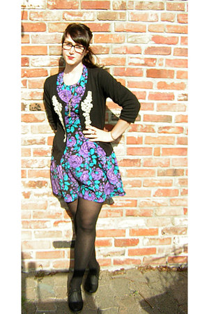 deep purple thrifted vintage dress - black thrifted cardigan - modcloth pumps -