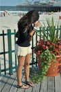Black-h-m-sweater-cream-forever-21-shorts-black-michael-kors-sandals