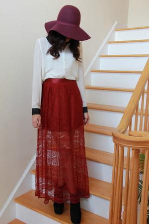 brick red Forever21 skirt - black Agaci boots - cream Forever21 blouse