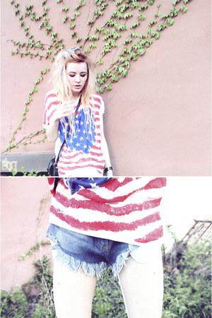 american flag lavagrantbelle top - frayed denim romwe shorts