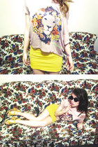 lion crop top romwe top - yellow bodycon BDG skirt