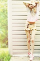 neutral Wildfox Couture cutoff shorts