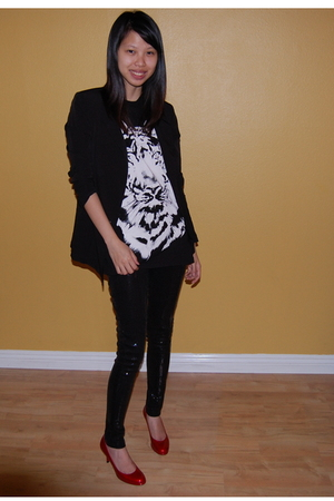 black Silence &amp; Noise blazer - Topshop shirt - Zara pants