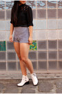 White-cut-out-boots-tony-bianco-boots-black-asos-shirt-shorts