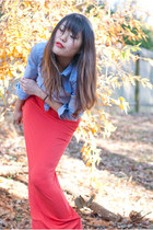 oxford Uniqlo shirt - Nine West boots - orange maxi asos dress