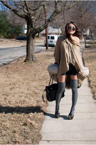poncho H&M sweater - leather Blank shorts - fur stole vintage cape - Jessica Sim