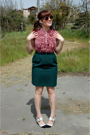 green thrifted skirt - pink Styles For Less blouse