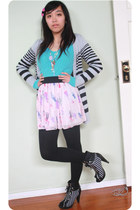 parisian junior boots - turquoise knit sweater - skirt - striped cardigan
