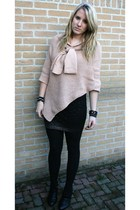 pink pieces vest - black H&M skirt - black van haren boots - black h&m  &  clair