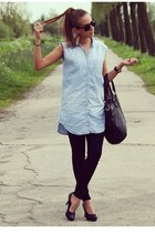 sky blue denim H&M blouse - black Zara jeans - black pieces bag