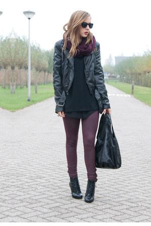 black vintage boots - black H&M jacket - brick red Primark leggings