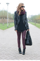 black vintage boots - black H&M jacket - brick red Primark leggings