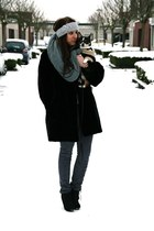 black vintage coat - heather gray Only pants - heather gray self knitted scarf -