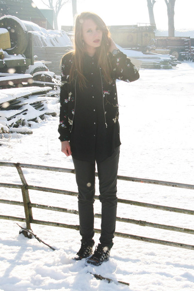 black Zara Trf jacket - black Saint Tropez pants - black vintage blouse