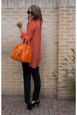coral Primark blouse - carrot orange Primark bag - black Vila pants
