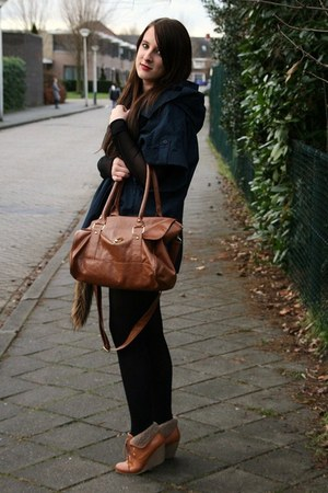 navy sessun coat - dark brown Primark bag - tawny H&M shoes